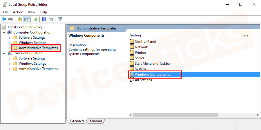 On the right side of the panel, you can see folders select Windows components from the list.
