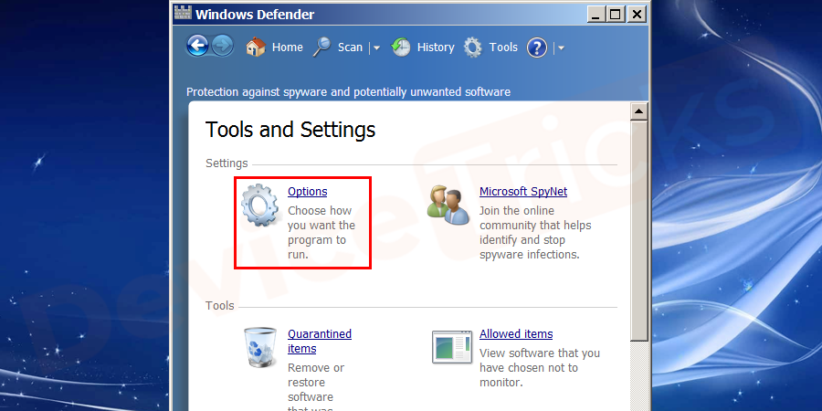 Under the settings category, you can see options, click on that button. You will be directed to the next window.