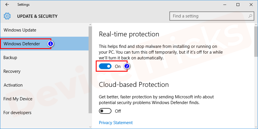 If you find real-time protection is ON. Tap on the bar to turn off it.