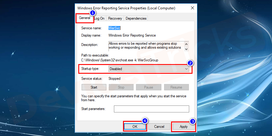 Soon, you will get another pop-up, displaying salient features of Windows Error Reporting Services. Move to 'Startup Type' section and select 'Disable' from the drop-down menu. And then click on 'Apply' and further click on the 'OK' button.