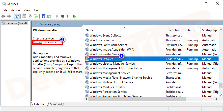 On the new window, search for Windows Installer and tap on the restart link.