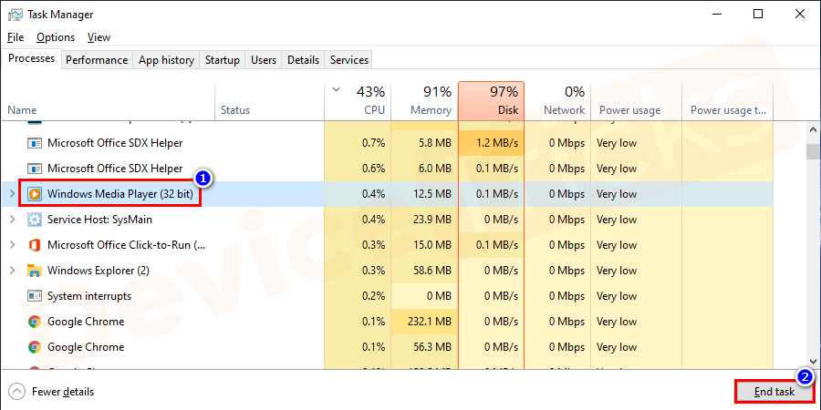 Once the task manager is opened select the Windows Media Player from the process pane and click on the End task button.