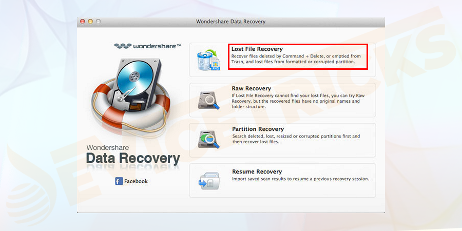 Open the software icon installed in your system and choose lost file recovery.