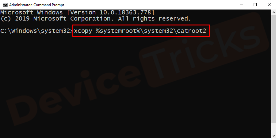 xcopy %systemroot%\system32\catroot2
