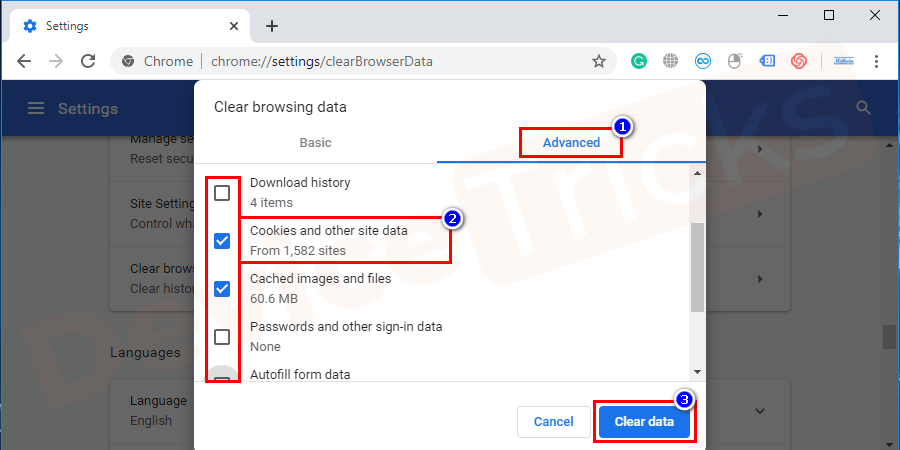 Thereafter, a new window will feature on your screen with few options, click on the 'Advanced' tab and select 'Cookies and other site data' from the featured list. And then click on 'Clear data'.