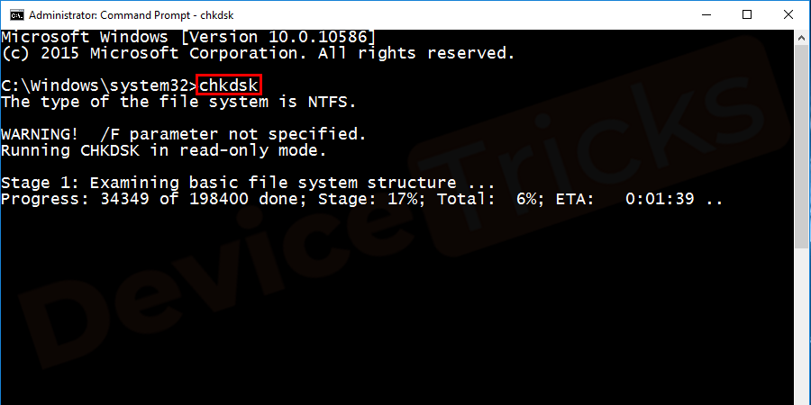 """Type chkdskcommand and press """"Enter""""."""