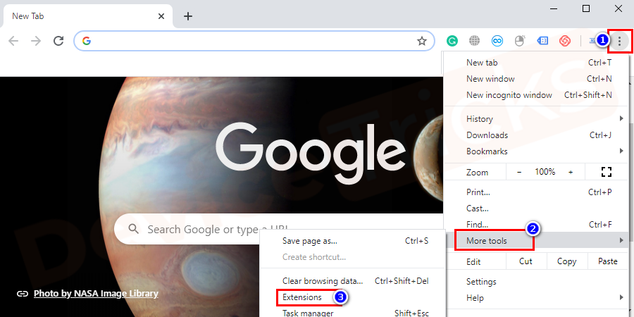 You have to open your browser. Click on the Menu option present at the top-right corner of the browser window. You will get drop-down options, navigate to more tools. On the next set of options, choose Extensions.