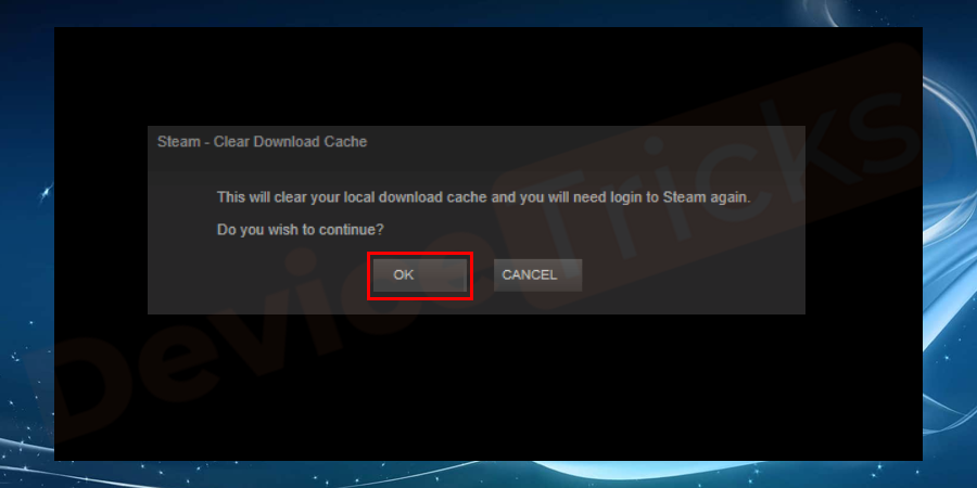 On the new pop–up window to continue flush, click on ok button.