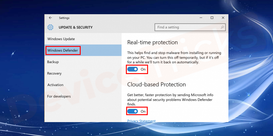 Click on the Windows Defender option present on the left side of the window. Further, you can click on the blue switch to turn off the AntiSpyware which is present under real-time protection. You also disable Window's Defender cloud-based protection which is present below real-time protection by clicking on the blue button.
