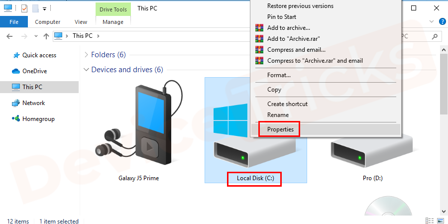 Go to the computer icon, right-click on Local disk C: → select properties