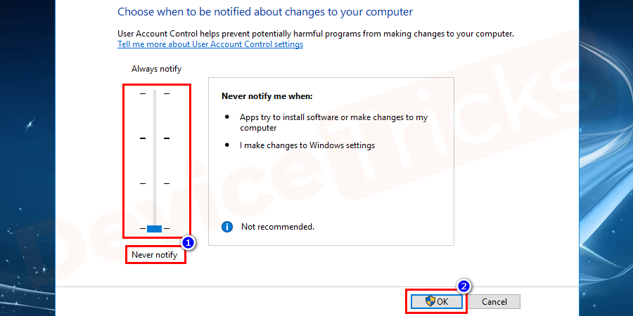 Click on the User Account Control settings to move the slider to Never notify and press OK position to disable UAC.