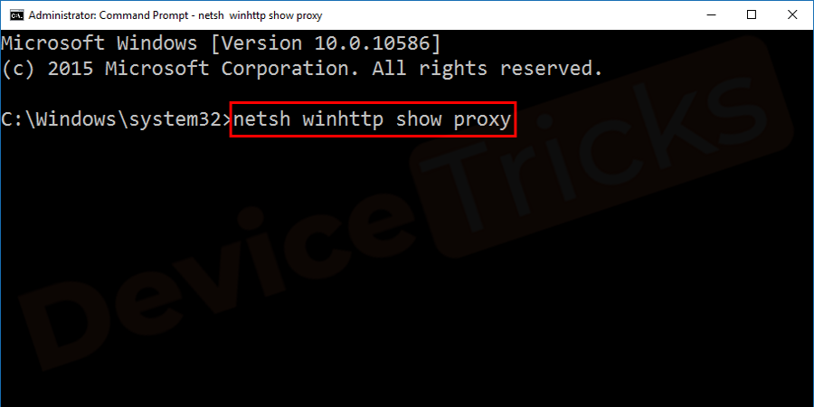 Type netsh winhttp show proxy into the prompt.