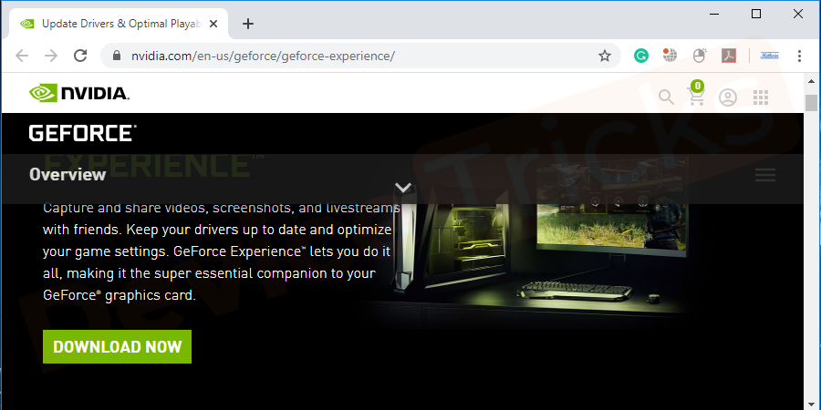 Now click on the link to reach the official page of NVIDIA GeForce Experience.
