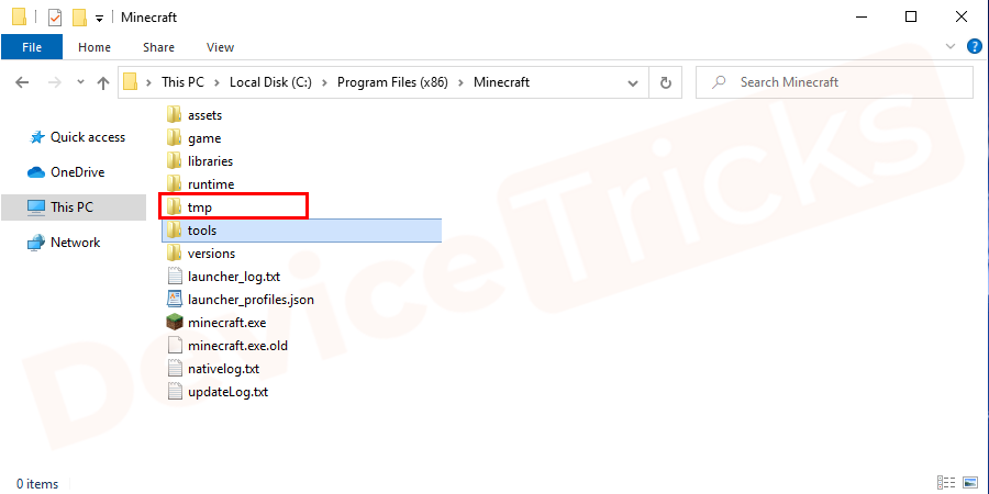 Next open c: \ Program Files (x86) \ Minecraft \ tmp, copy-paste the file location without spaces as shown in the figure. Or else can open one after another folder in a sequence from the above file location.