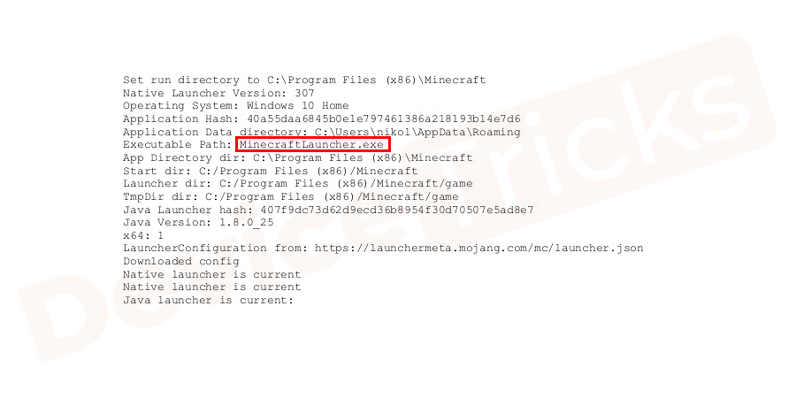 Click on the hyperlink in native log includes minecraftlauncher.exe with a ctrl+c hotkey.It automatically opens your default web browser with the Minecraft website.