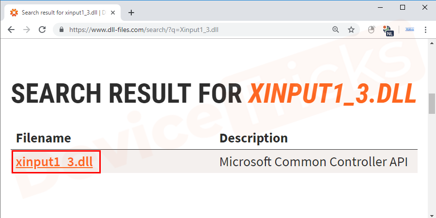 Once the search result show Xinput1_3.dll file, Click on it and install the file by clicking the installation button.