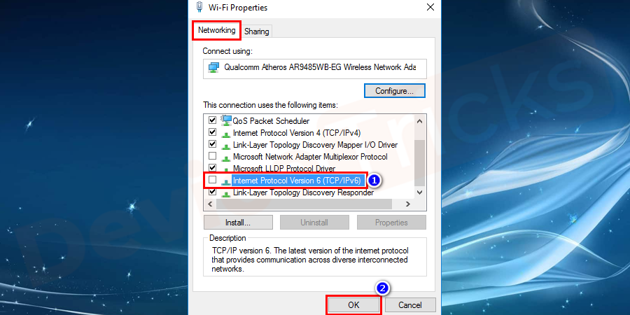 select the Networking tab. Uncheck the IPv6 connection option