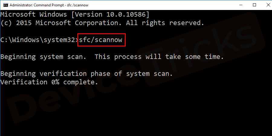 "In the command prompt window type ""sfc/scannow"" and hit Enter to run the scan."