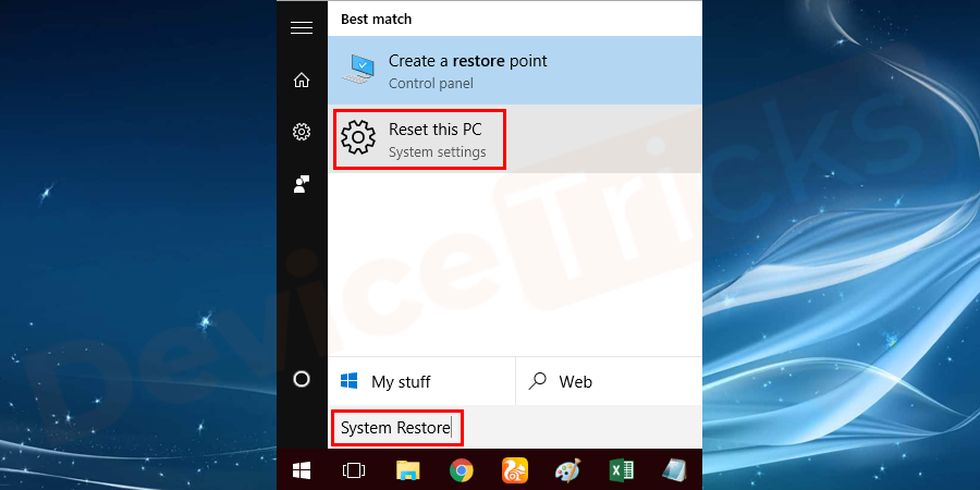 Double-click on the option Reset this PC