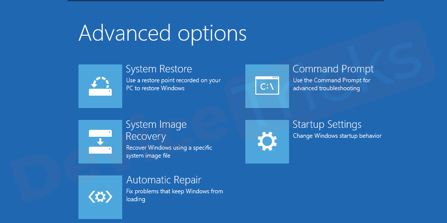 While Booting from the Windows Installation Disc, Go to Advanced Recovery Options.
