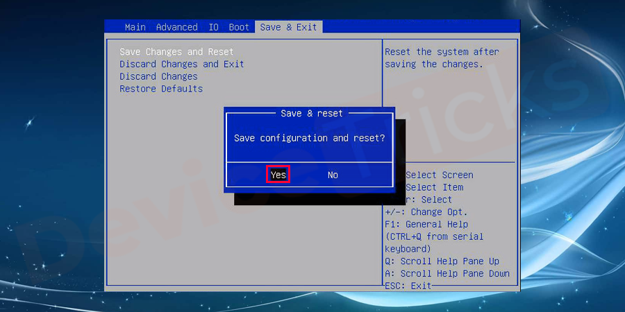 Next, save the changes and reboot system.