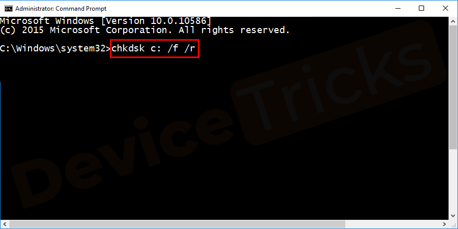 To check the disk, type chkdsk/f/r command and click on the Enter button to execute it.