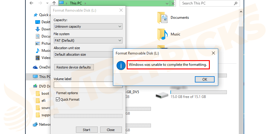 "Why the Error ""Windows was unable to complete the Format"" occur?"