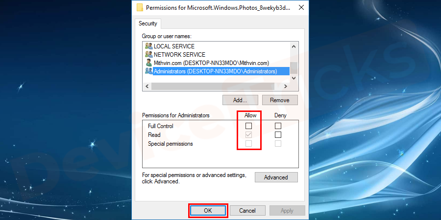 Later do the changes in the permission of the Administrator by click on the allow option.