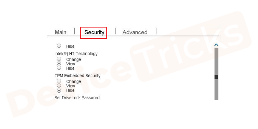 After landing into the BIOS Setup page, you will find few tabs listed at the top of the page, use the arrows key to select 'Security'.