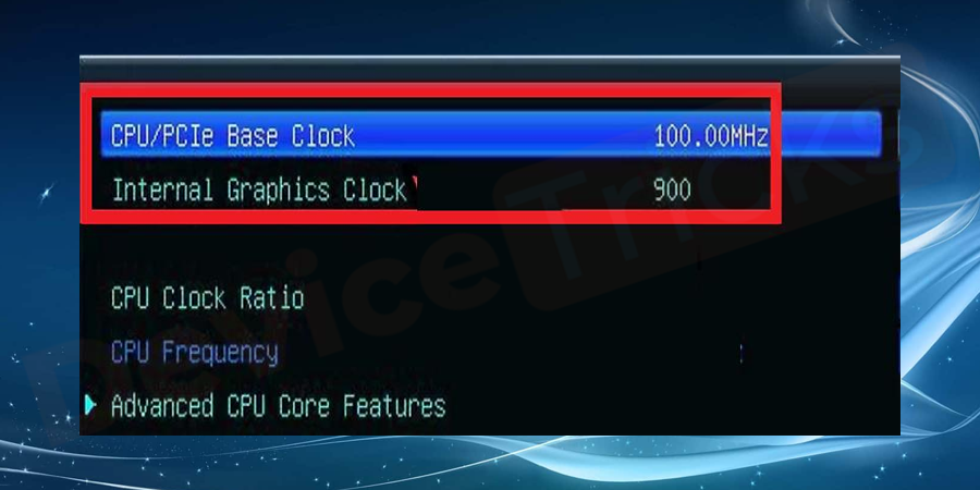 Navigate to base clock option, if the base clock is 100 MHz and 1.6 GHz clock speed then you can increase it to 10% more such as the change to 110 MHz and clock speed to 1.76 GHz.