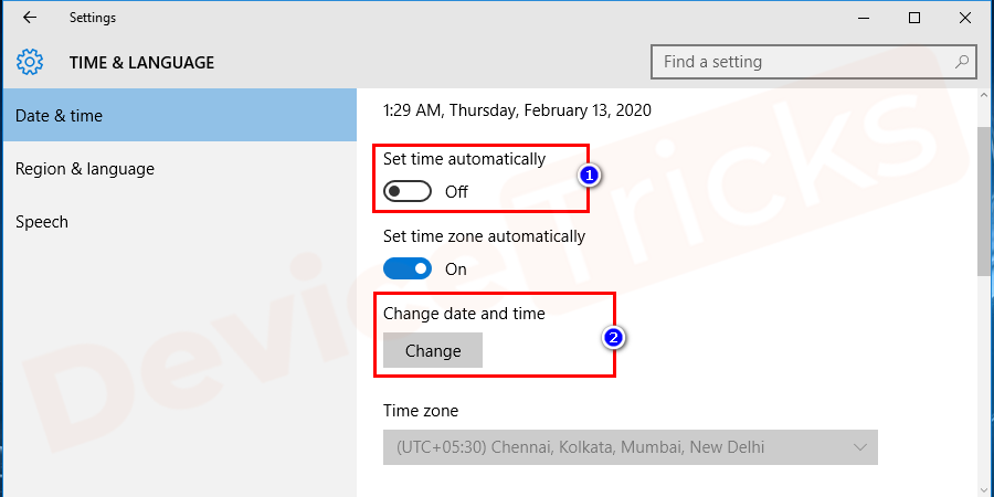 Steps to update the date and time on your Windows computer.