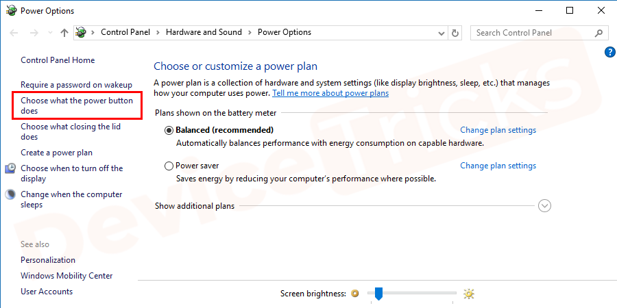 Soon you will find a list of options at the left end of the page, click on an option 'Choose what the power button does'.