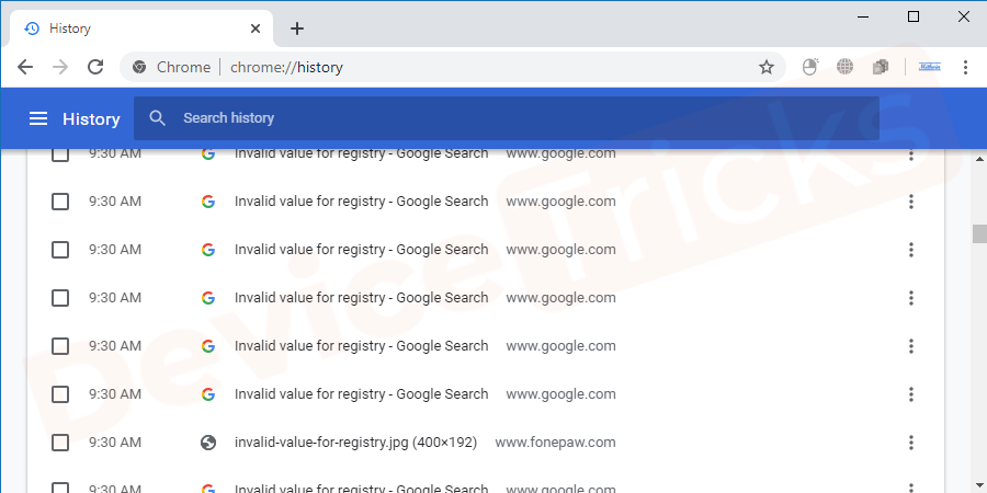 Open the Chrome browser and then press Ctrl+H to go to the browser history panel.