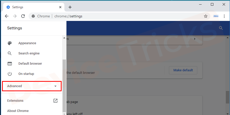 Then in the left pane of the newly opened window, click on Advanced option.