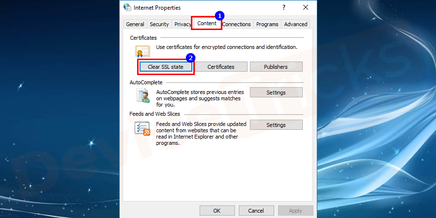 Now go to the Content tab in the opened window and then click on Clear SSL state which is given under the Certificates section.