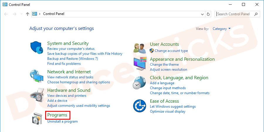 Soon, a Control Panel page will open and you need to click on the 'Programs' section.
