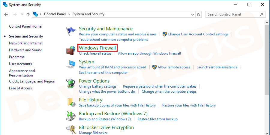 In the next window, click on Windows Firewall.