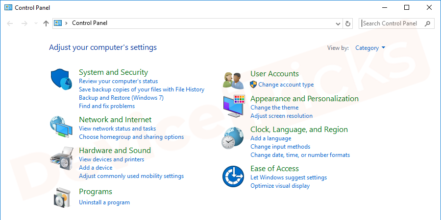 Soon, you will find the 'Control Panel' page on your screen with featured computer settings.