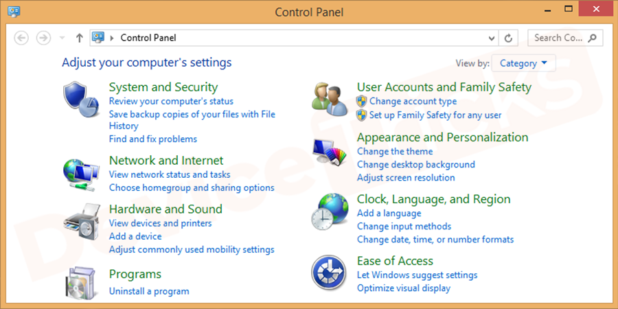 Go to the control panel. For Windows 10 select settings