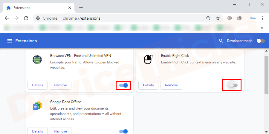 Now click on the blue button given with the extension to disable it. If you don't need that extension now onwards, you can click on remove.