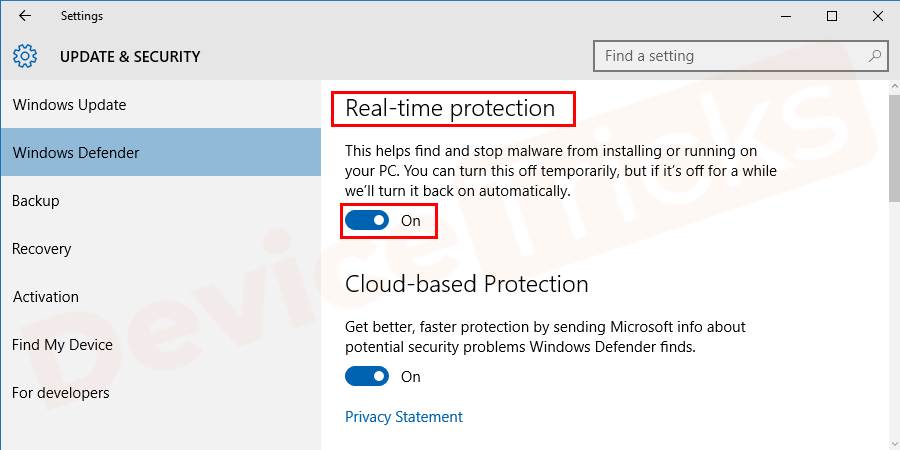 In the next window, just disable the option given for Real-time protection.