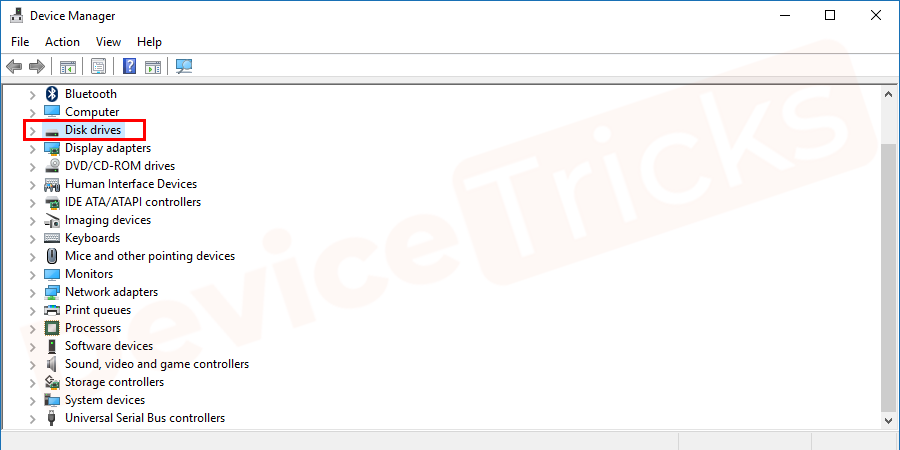 Now, select the disk drive, click on the arrow button to get the featured driver.