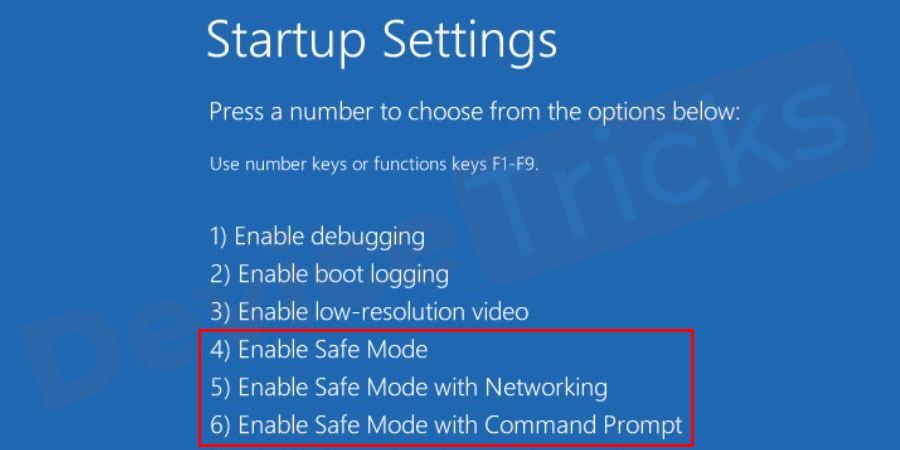 Choose a Safe Mode option (Safe Mode, Safe Mode with Networking, Safe Mode with Command Prompt) to enter.