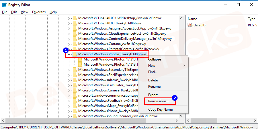Right-Click on the Microsoft.Windows.Photos_8wekyb3d8bbwe directory and select permission.