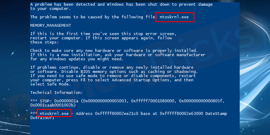 Why ntkrnlmp.exe Blue Screen of Death occurs?