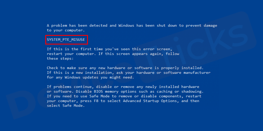How to Fix SYSTEM PTE MISUSE Blue Screen of Death Error?