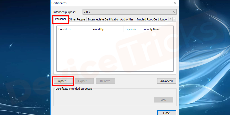 Click on the import option