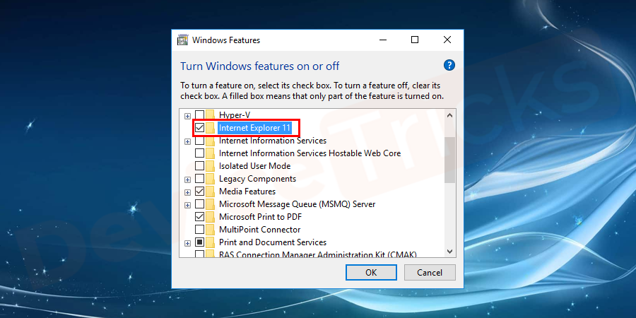 Thereafter, a new pop-up window will open, move to the 'Internet Explorer 11' section and then uncheck the box.