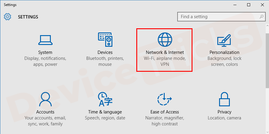 Select Network and Internet from the available options.