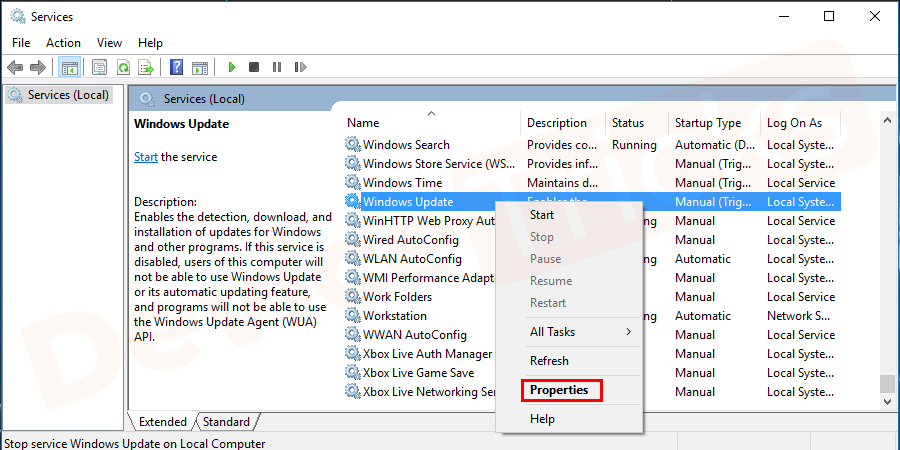 Search for the Windows Update File, Right-click on it and select Properties.